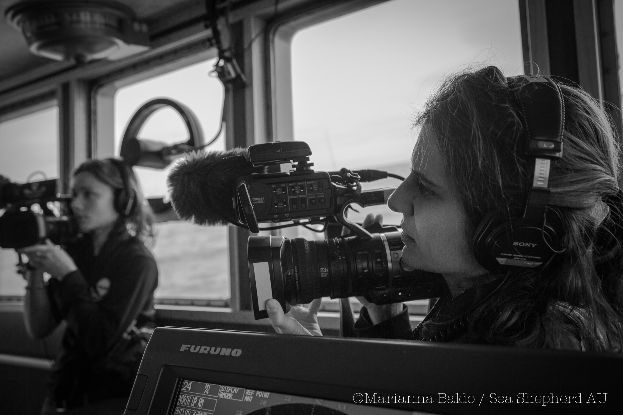 Carolina A. Castro producing and filming for Whale Wars Season 7 at the Sea Shepherd ship Bob Barker.